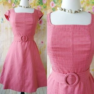 Gorgeous Coral Embossed Dress w/ belt